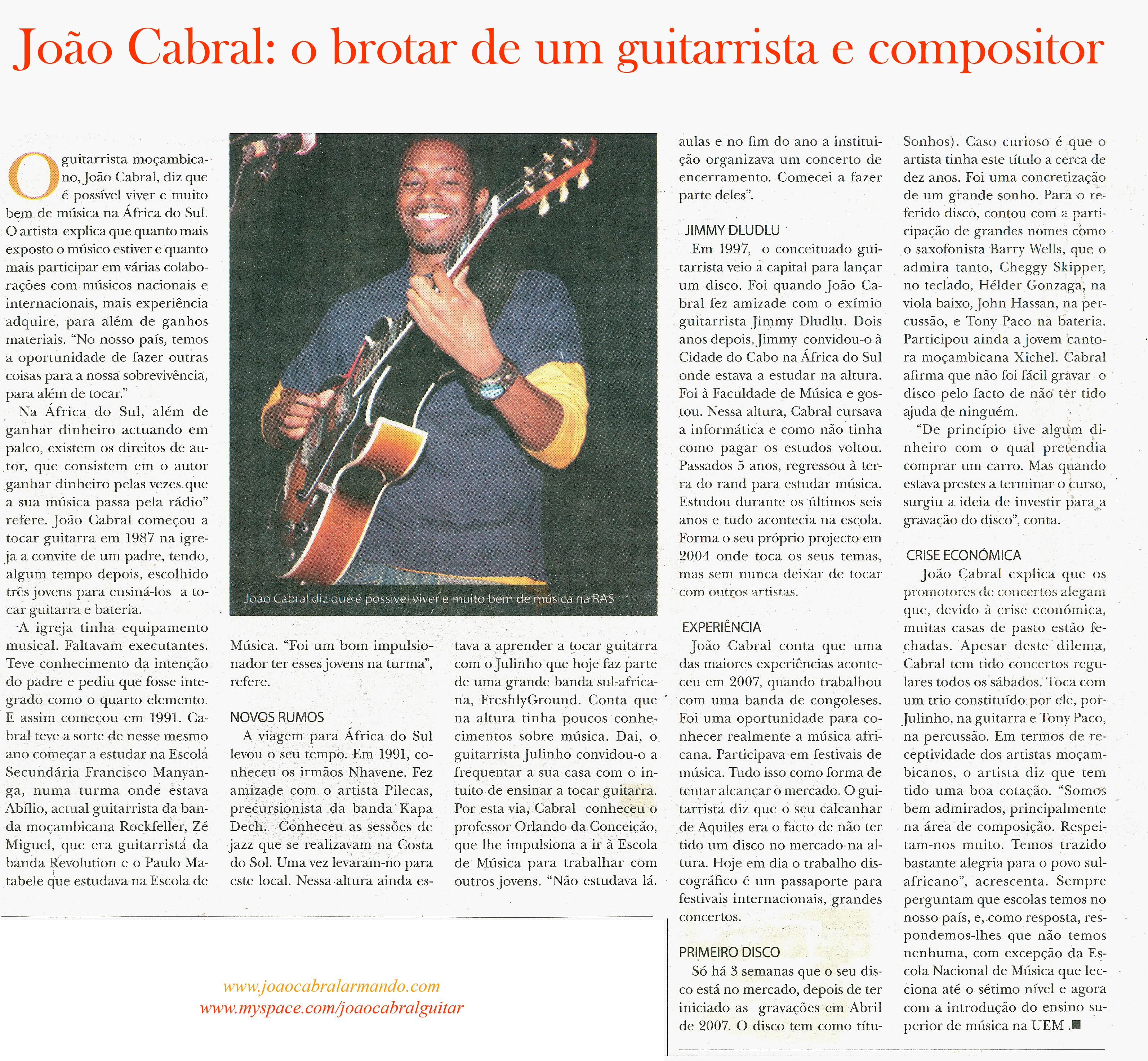 Joao Cabral (Artigo do Jornal O Pais)